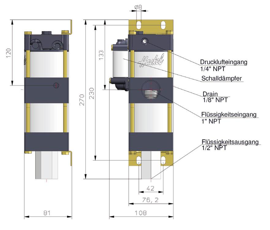 Haskel - Pumpen - Minipumpe - M-5 - Maßblatt