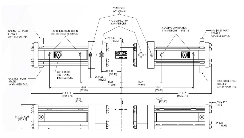 HD-Tech - Abmessungen und Anschlüsse Kompressor HGT-90-63 - 850 bar