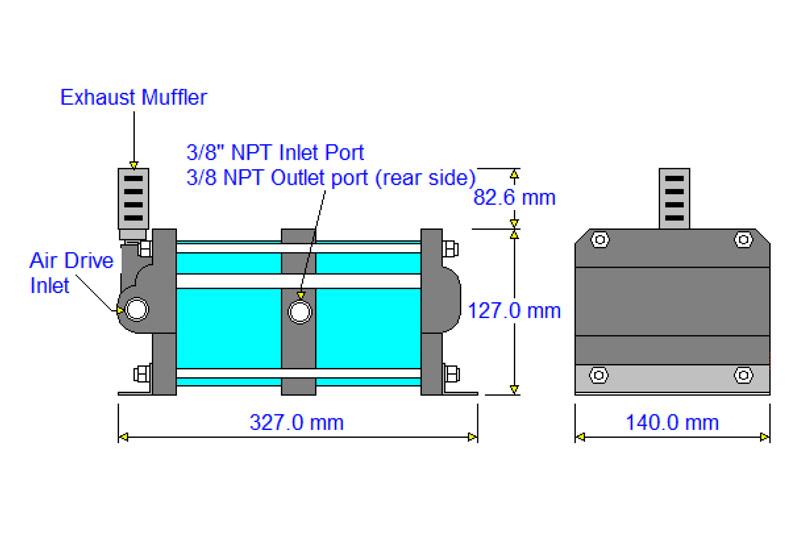 HD-tech - Produkte - Druckluftverstärker 4AAD-2 Haskel - Maßblatt