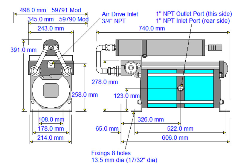 HD-tech - Produkte - Druckluftverstärker 8AAD-2 Haskel - Maßblatt