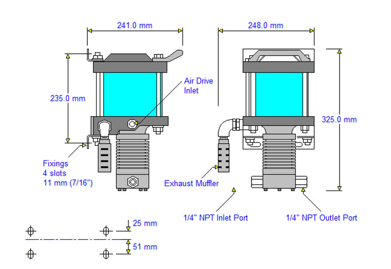 HD-tech - Produkte - Druckluftverstärker AA-15 Haskel - Maßblatt