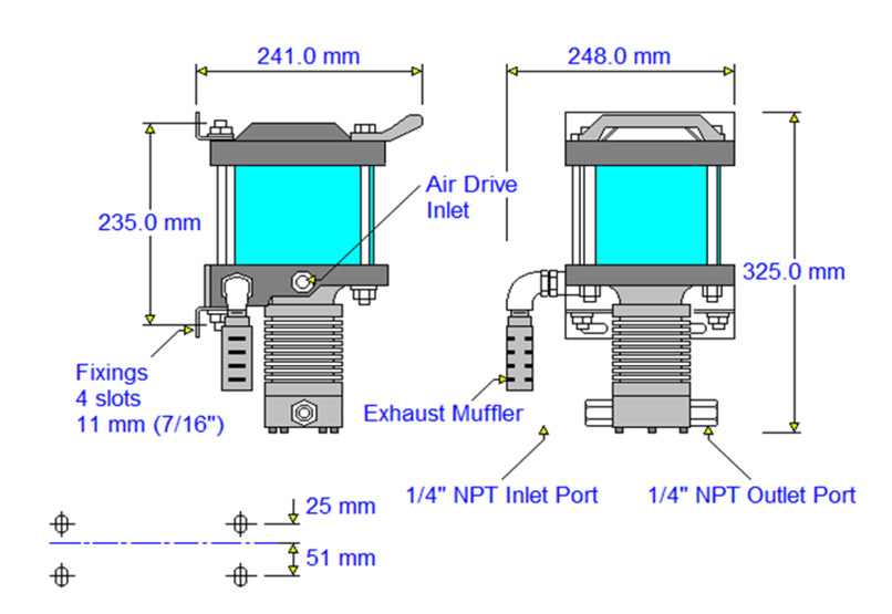 HD-tech - Produkte - Druckluftverstärker AA-30-C Haskel - Maßblatt