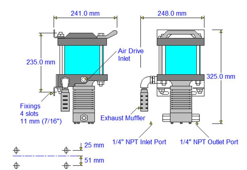 HD-tech - Produkte - Druckluftverstärker AA-30 Haskel - Maßblatt