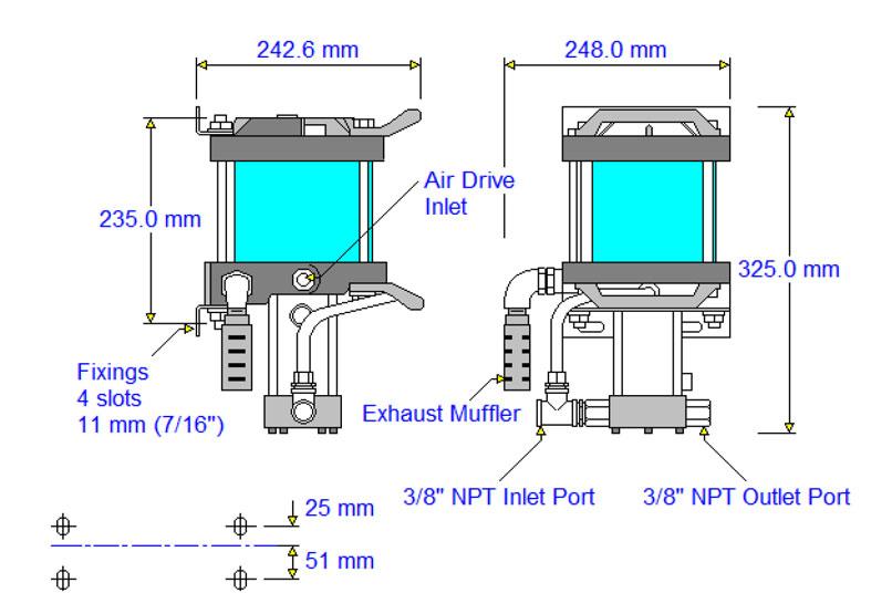 HD-tech - Produkte - Druckluftverstärker AA-8 Haskel - Maßblatt