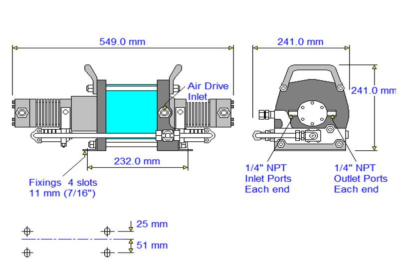 HD-tech - Produkte - Druckluftverstärker AAD-15 Haskel - Maßblatt