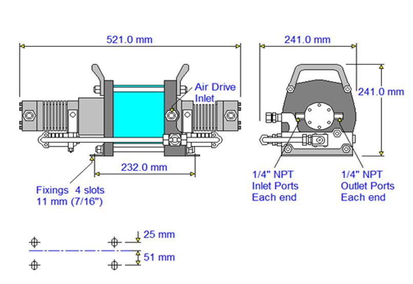 HD-tech - Produkte - Druckluftverstärker AAD-30 Haskel - Maßblatt
