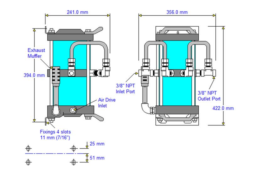 HD-tech - Produkte - Druckluftverstärker AAD-2 Haskel - Maßblatt