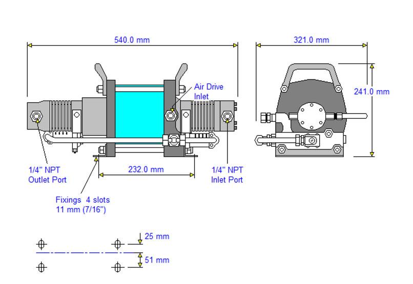HD-tech - Produkte - Druckluftverstärker AAT-30/50 Haskel - Maßblatt