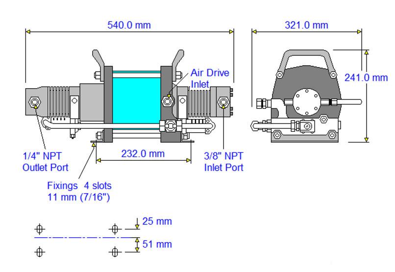 HD-tech - Produkte - Druckluftverstärker AAT-7/30 Haskel - Maßblatt