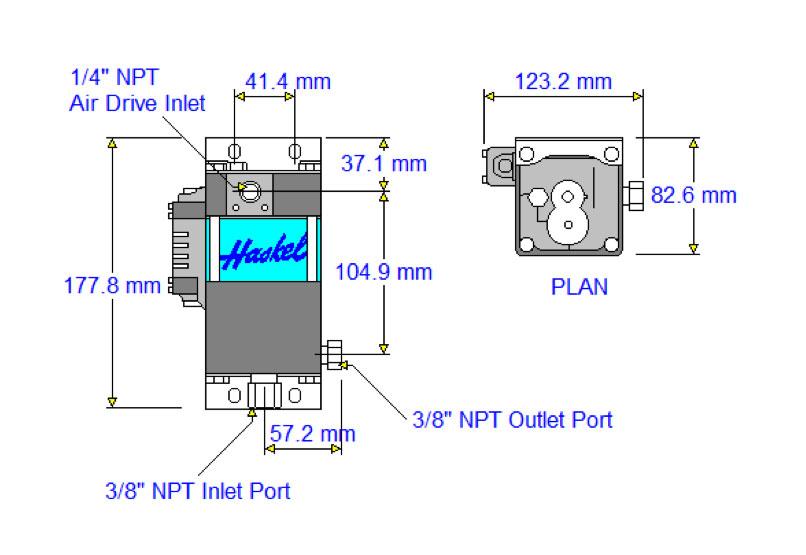 HD-tech - Produkte - Druckluftverstärker HAA31-2.5N Haskel - Maßblatt
