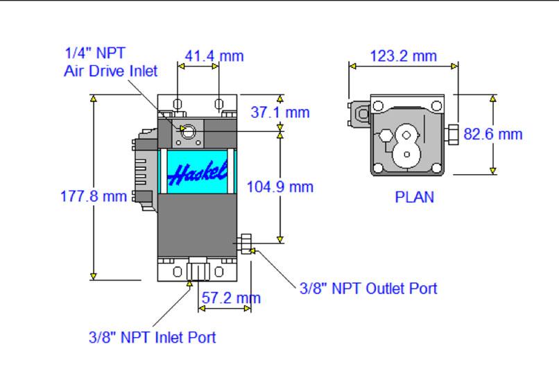 HD-tech - Produkte - Druckluftverstärker HAA31-3.5N Haskel - Maßblatt
