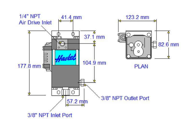 HD-tech - Produkte - Druckluftverstärker HAA31-4.5N Haskel - Maßblatt