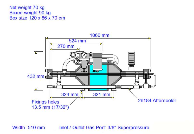HD-tech - Produkte - Gas-Kompressor 14AGD-315 - Haskel - Maßblatt