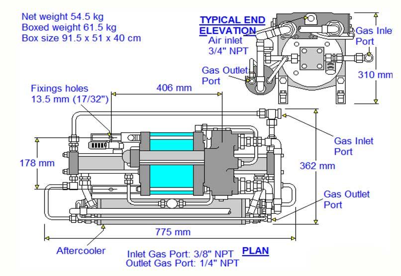 HD-tech - Produkte - Gas-Kompressor - 8AGD-14 - Haskel - Maßblatt