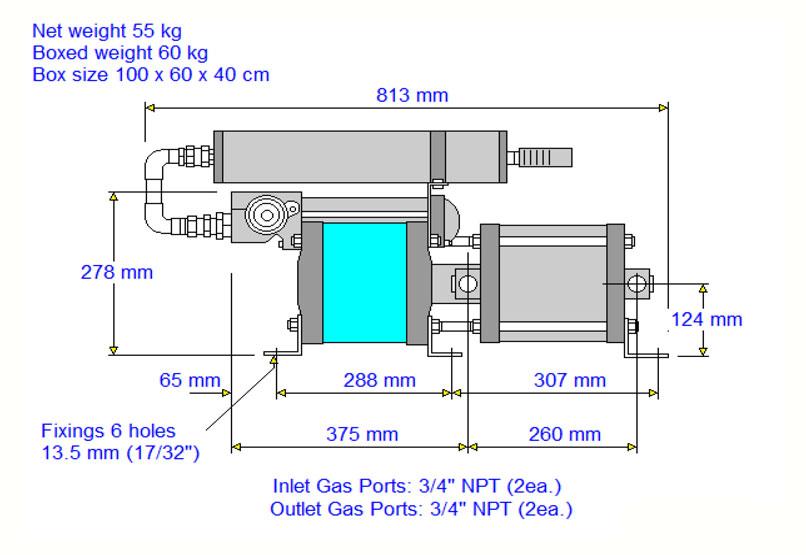 HD-tech - Produkte - Gas-Kompressor - 8AGD-1 - Haskel - Maßblatt