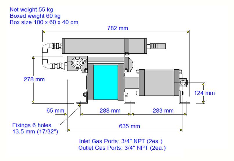 HD-tech - Produkte - Gas-Kompressor - 8AGD-2 - Haskel - Maßblatt