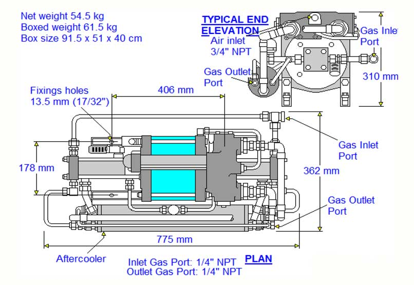 HD-tech - Produkte - Gas-Kompressor - 8AGD-30 - Haskel - Maßblatt