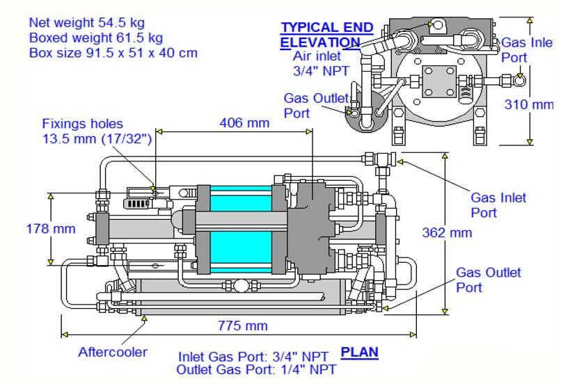 HD-tech - Produkte - Gas-Kompressor - 8AGD-5 - Haskel - Maßblatt