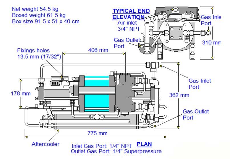HD-tech - Produkte - Gas-Kompressor - 8AGD-60 - Haskel - Maßblatt