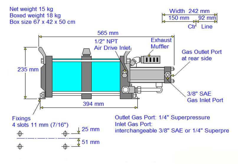 HD-tech - Produkte - Gas-Kompressor AG-152 - Haskel - Maßblatt