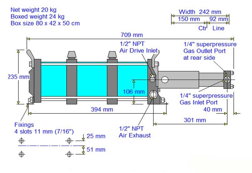 HD-tech - Produkte - Gas-Kompressor AG-303 - Haskel - Maßblatt