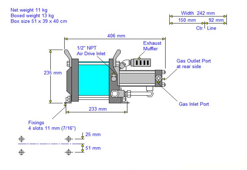 HD-tech - Produkte - Gas-Kompressor AG-7 - Haskel - Maßblatt