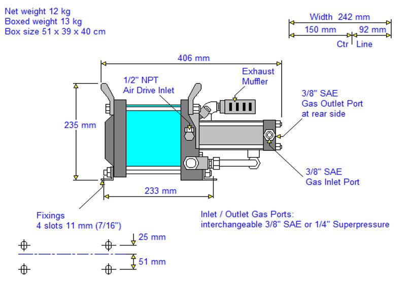 HD-tech - Produkte - Gas-Kompressor AG 75 Haskel - Maßblatt