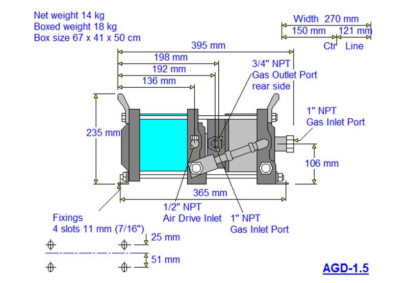 HD-tech - Produkte - Gas-Kompressor AGD-1,5 - Haskel - Maßblatt