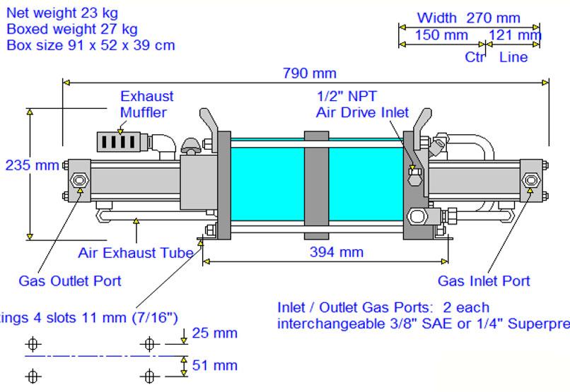 HD-tech - Produkte - Gas-Kompressor AGD-14 - Haskel - Maßblatt