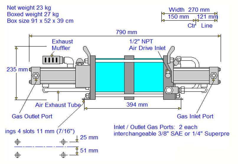 HD-tech - Produkte - Gas-Kompressor AGD-32 - Haskel - Maßblatt