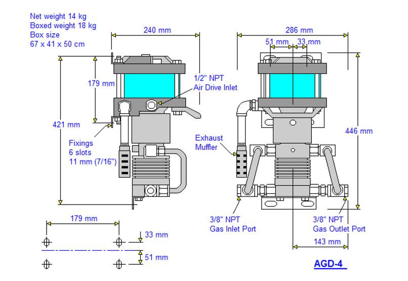 HD-tech - Produkte - Gas-Kompressor AGD-4 - Haskel - Maßblatt