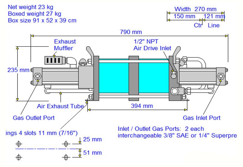 HD-tech - Produkte - Gas-Kompressor AGD-62 - Haskel - Maßblatt