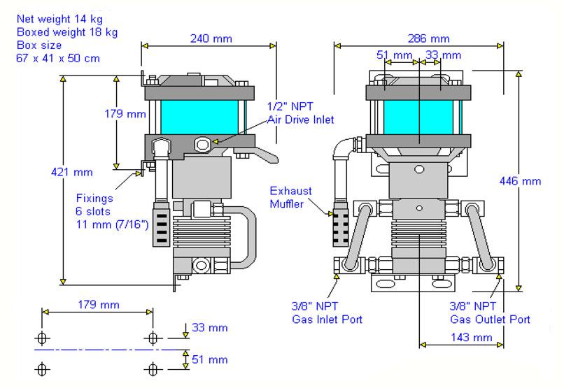 HD-tech - Produkte - Gas-Kompressor AGT-4 - Haskel - Maßblatt