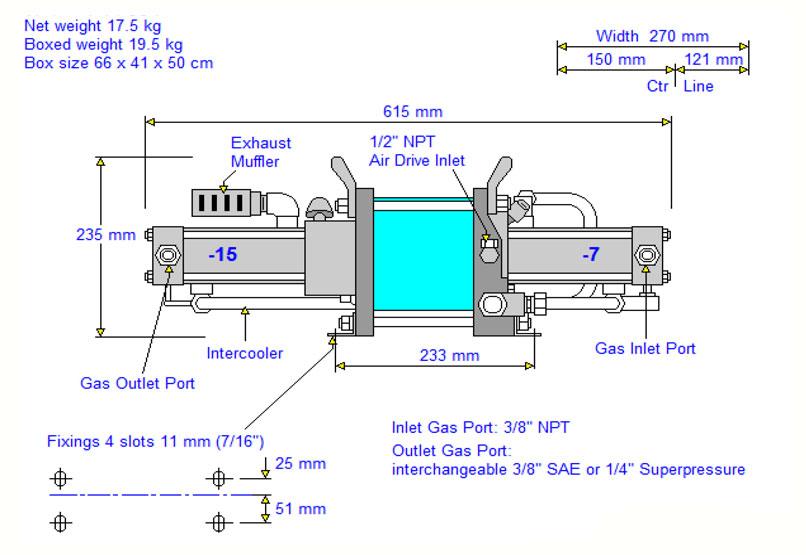 HD-tech - Produkte - Gas-Kompressor AGT-7/15 - Haskel - Maßblatt