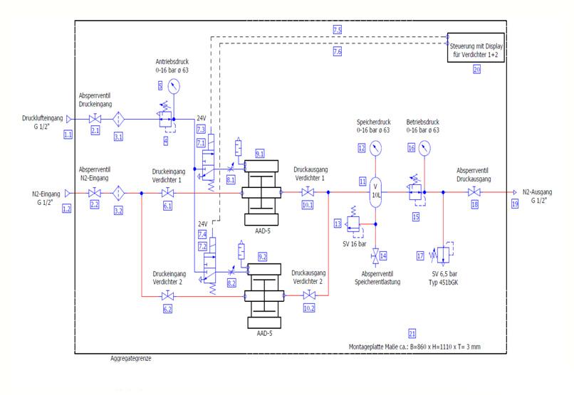 HDTech - Verdichterstation - AAD-5-10Liter-16bar AA-1183-2 - Schaltplan