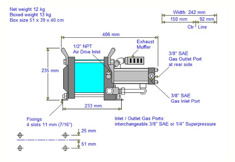 HD-Tech - Komplettanlage Gaskompressor - AG-75 - GB-1135 - Massblatt