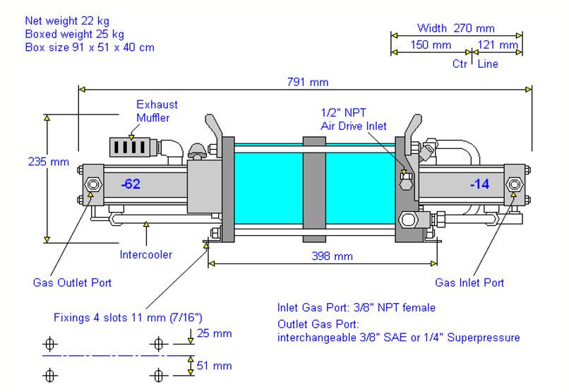 HD-Tech - Komplettanlage Gaskompressor - Verdichterstation AGT-14/62-H2-Atex-500 bar - Massblatt