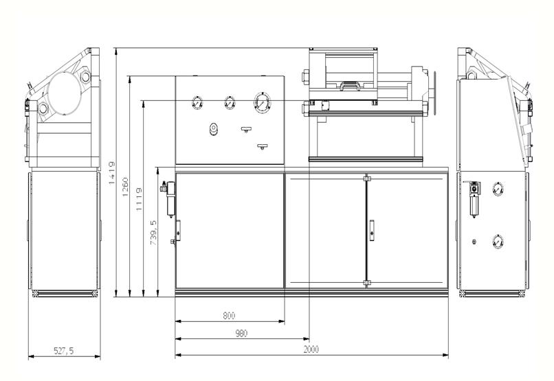 HD Tech - Prüfstand - Armaturenprüfstand mit Spanneinrichtung und Schutzhaube - Massblatt