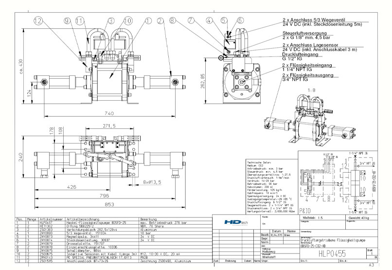 HD Tech - Haskel - Pumpen - 8DSFD-25-CO2-HD - Konstruktionszeichnung