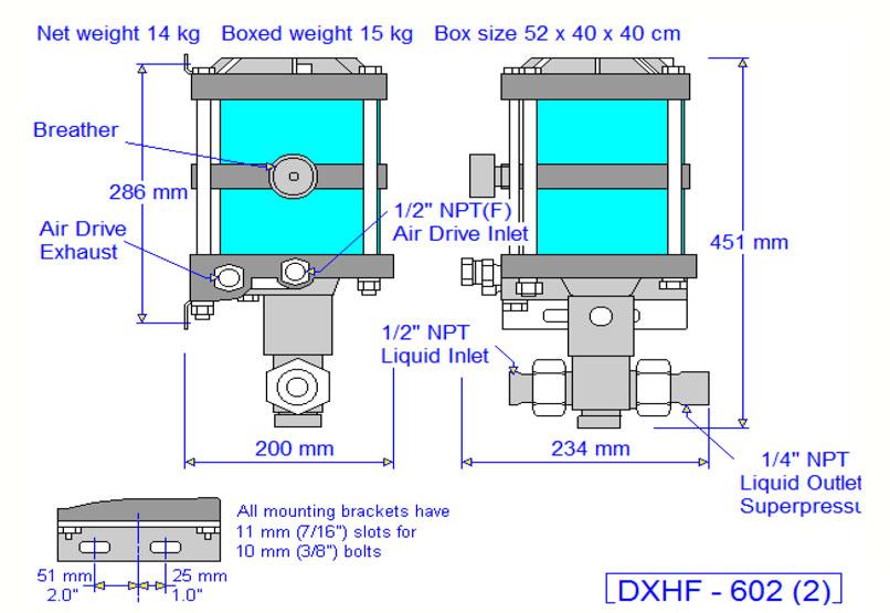 HD Tech - Komplettanlage Flüssigkeiten - LP-1175 DXHF-602-3600 bar - Massblatt