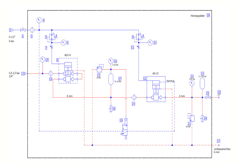 HD Tech - Komplettanlagen Gase - AGT-4 - AG-15 - 60 bar - Schaltplan