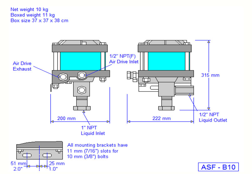 HD Tech - Produkte - Pumpen - ASF-B10 - Massblatt
