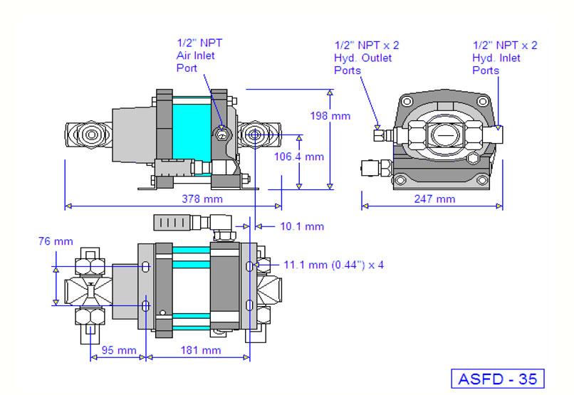 HD Tech - Produkte - Pumpen - ASFD-35 - Massblatt