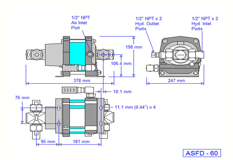HD Tech - Produkte - Pumpen - ASFD-60 - Massblatt