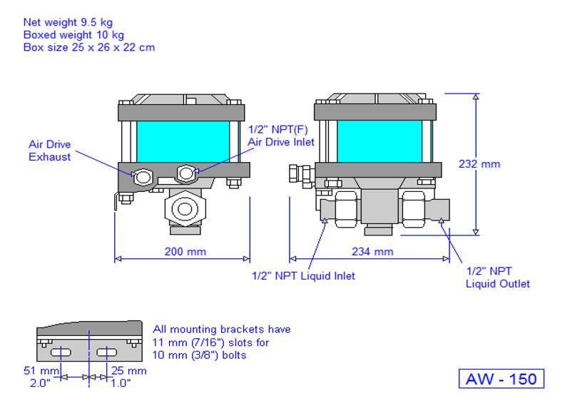 HD Tech - Produkte - Pumpen - AW-150 - Massblatt