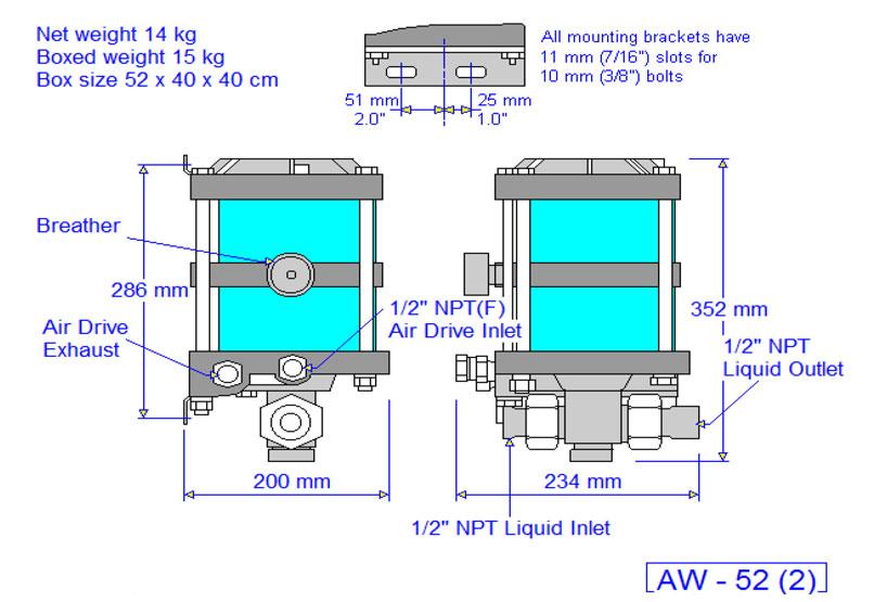 HD Tech - Produkte - Pumpen - AW-52 - Massblatt