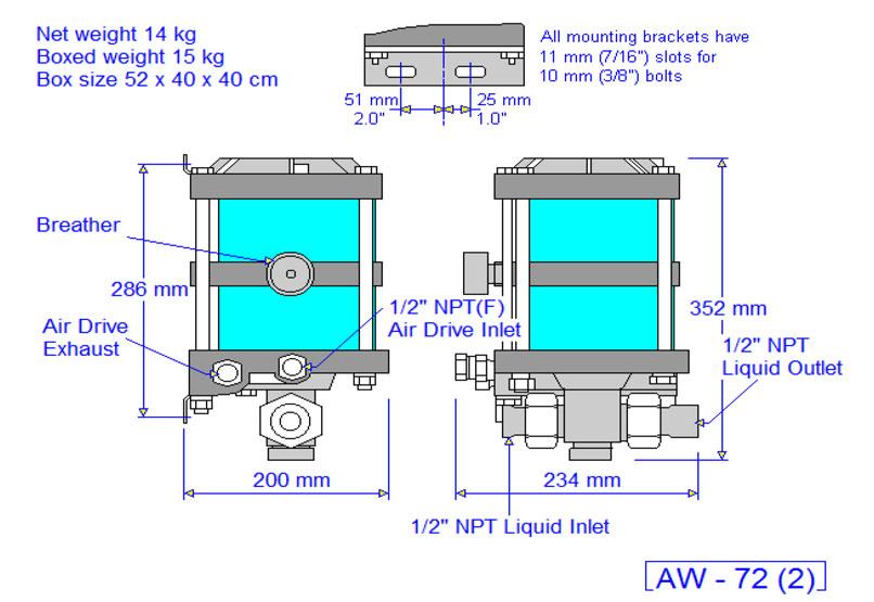 HD Tech - Produkte - Pumpen - AW-72 - Massblatt
