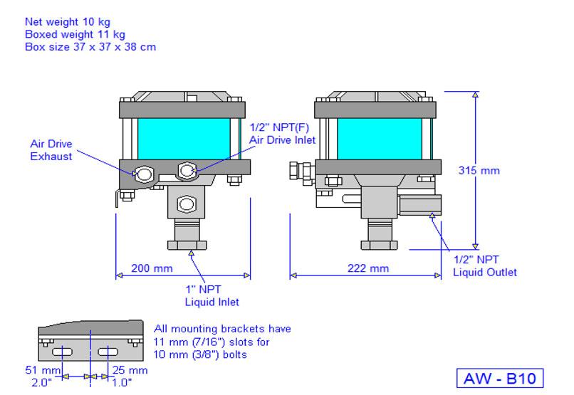 HD Tech - Produkte - Pumpen - AW-B10 - Massblatt