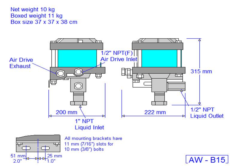 HD Tech - Produkte - Pumpen - AW-B15 - Massblatt