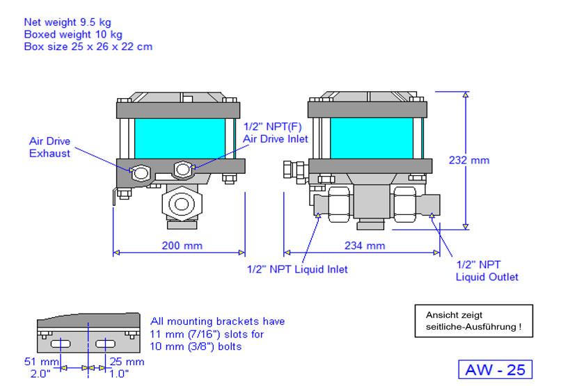 HD Tech - Produkte - Pumpen - AW-B25 - Massblatt